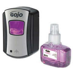"GOJO® LTX-7 Antibacterial Foam Handwash Kit, 700 mL, 5.75"" x 4"" x 8.5"", Chrome/Black"