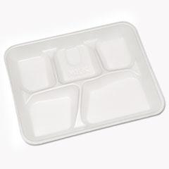 Pactiv Lightweight Foam School Trays, White, 5-Compartment, 8 1/4 x 10 1/2, 500/Carton