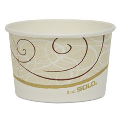 "Dart® Single Poly Paper Containers, 8 oz, 3.8"" Diameter x 2.3""h, Symphony Design, 50/Pack, 20 Pack/Carton"
