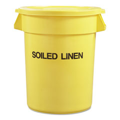 "Rubbermaid® Commercial Round Brute Container with ""Trash Only"" Imprint, Plastic, 33 gal, Yellow"
