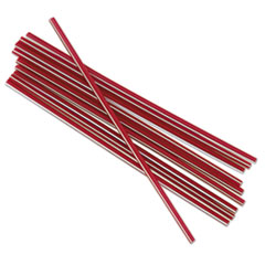 "Boardwalk® Unwrapped Single-Tube Stir-Straws, 5 1/4"", Red/White Stripe, 1000/Pack BWKSTRU525S10PK"