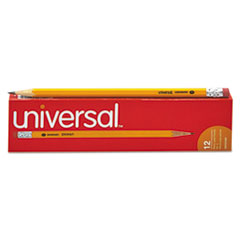 Universal™ #2 Woodcase Pencil, HB (#2), Black Lead, Yellow Barrel, Dozen