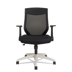 Alera® Alera EB-K Series Synchro Mid-Back Flip Arm Mesh-Chair, Supports up to 275 lbs., Black Seat/Black Back, Cool Gray Base