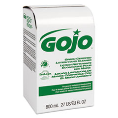 GOJO® Green Certified Lotion Hand Cleaner 800mL Bag-in-Box Refill, Light Floral Scent, 12/Carton