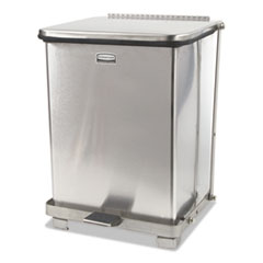 "Rubbermaid® Commercial Defenders Medical Step Can, Square, 7 gal, 12"" Square, 17""h, Stainless Steel"