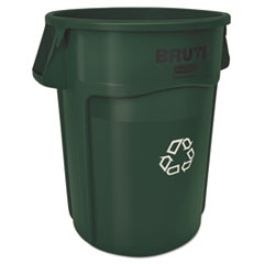 Rubbermaid® Commercial Brute Recycling Container, Round, 44 gal, Dark Green