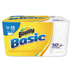Bounty® Basic Select-a-Size Paper Towels, 5 9/10 x 11, 1-Ply, 89/Roll, 12 Roll/Pack PGC92972