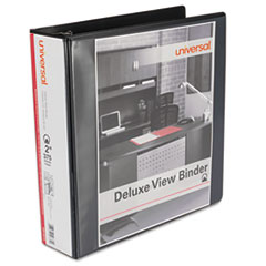 "Universal® Deluxe Round Ring View Binder, 2"" Capacity, Black"
