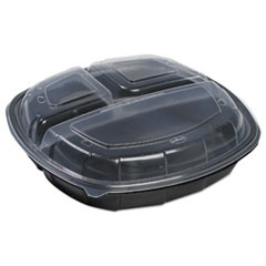 Mullinix Breakaway Hinged Poly Food Containers, Black/Clear, 3Comp, 10x10x2.5,148/Crtn MUX100103273