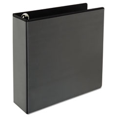 "Universal® Deluxe Easy-to-Open Round-Ring View Binder, 3 Rings, 3"" Capacity, 11 x 8.5, Black"