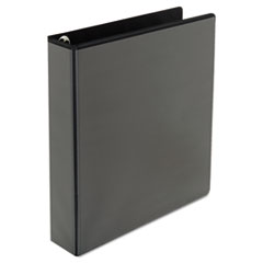 "Universal® Deluxe Easy-to-Open Round-Ring View Binder, 3 Rings, 1.5"" Capacity, 11 x 8.5, Black"