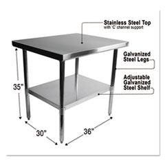 Alera® NSF Approved Stainless Steel Foodservice Prep Table