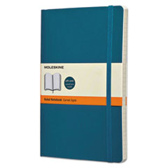 Moleskine® Classic Softcover Notebook, Ruled, 8 1/4 x 5, Underwater Blue Cover, 192 Sheets HBGQP616B6
