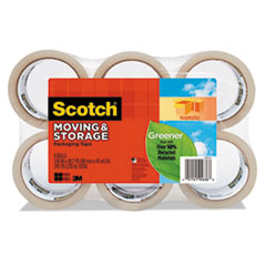 """Scotch® Moving & Storage Tape, 1.88"""" x 49.2yds, 3"""" Core, Clear, 6/Pack"""