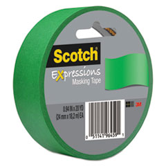 """Scotch® Expressions Masking Tape, 3"""" Core, 0.94"""" x 20 yds, Primary Green"""