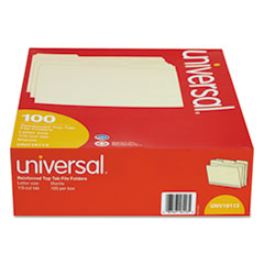 File Folders, 1/3 Cut Assorted, Two-Ply Top Tab, Letter, Manila, 100/Box
