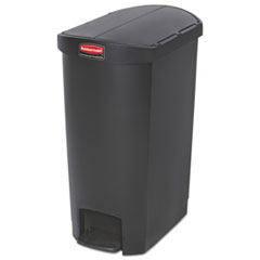 Rubbermaid® Commercial Slim Jim Resin Step-On Container, End Step Style, 13 gal, Black