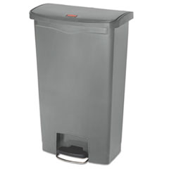 Rubbermaid® Commercial Slim Jim Resin Step-On Container, Front Step Style, 18 gal, Gray