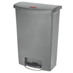 Rubbermaid® Commercial Slim Jim Resin Step-On Container, Front Step Style, 24 gal, Gray