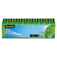 "Scotch® Magic Greener Tape, 1"" Core, 0.75"" x 75 ft, Clear, 10/Pack"
