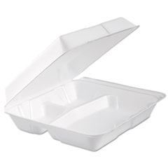 Foam Hinged Lid Container, 3-Comp, 9.3 X 9 1/2 X 3,