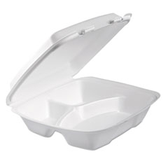 Foam Hinged Lid Container, 3-Comp, 9 X 9 2/5 X 3, White,
