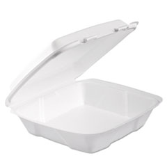 Foam Hinged Lid Container, 1-Comp, 9 X 9 2/5 X 3, White,