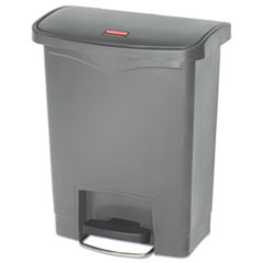 Rubbermaid® Commercial Slim Jim Resin Step-On Container, Front Step Style, 8 gal, Gray