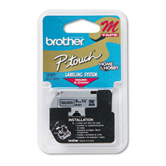 """M Series Tape Cartridge for P-Touch Labelers, 0.35"""" x 26.2 ft, Black on Silver"""