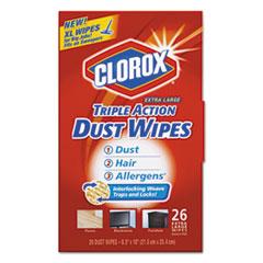 Clorox® Triple Action Dust Wipes, White, 8 1/2 x 10, 26/Box CLO31311EA