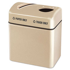 Rubbermaid® Commercial Two-Section Fiberglass Recycling Center, Paper/Refuse, 32 gal, Beige
