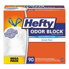 Hefty® Odor Block Tall-Kitchen Drawstring Bags, 13gal, .9 mil, White, 90/Box RFPE84574