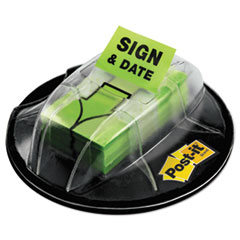"Post-it® Flags Page Flags in Dispenser, ""Sign & Date"", Bright Green, 200 Flags/Dispenser"
