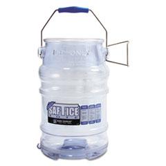 San Jamar® Saf-T-Ice Tote, 6gal Capacity, Transparent Blue