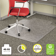 deflecto® EconoMat Occasional Use Chair Mat for Low Pile Carpet, 45 x 53, Wide Lipped, Clear