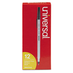 Universal™ Stick Ballpoint Pen, Medium 1mm, Black Ink, Gray Barrel, Dozen