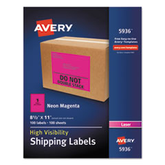 Avery® Neon Shipping Label, Laser, 8 1/2 x 11, Neon Magenta, 100/Box AVE5936