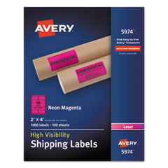 Avery® Neon Shipping Label, Laser, 2 x 4, Neon Magenta, 1000/Box AVE5974