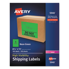 Avery® Neon Shipping Label, Laser, 8 1/2 x 11, Neon Green, 100/Box AVE5940
