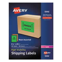 Avery® Neon Shipping Label, Laser, 5 1/2 x 8 1/2, Neon Assorted, 200/Box AVE5946