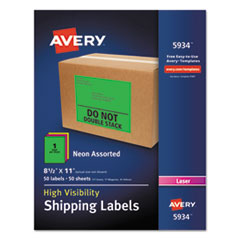Avery® Neon Shipping Label, Laser, 8 1/2 x 11, Neon Assorted, 50/Box AVE5934
