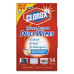 Clorox® Triple Action Dust Wipes, White, 7 x 8 1/2, 54/Box, 5 Box/Carton CLO31312