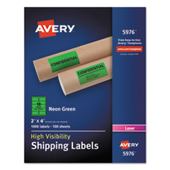 Avery® Neon Shipping Label, Laser, 2 x 4, Neon Green, 1000/Box AVE5976