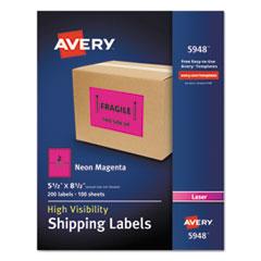 Avery® Neon Shipping Label, Laser, 5 1/2 x 8 1/2, Neon Magenta, 200/Box AVE5948