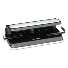 """Swingline® 32-Sheet Easy Touch Two-to-Three-Hole Punch, 9/32"""" Holes, Black/Gray"""