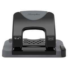 """Swingline® 20-Sheet SmartTouch Two-Hole Punch, 9/32"""" Holes, Black/Gray"""