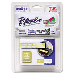 "Brother P-Touch® TZ Standard Adhesive Laminated Labeling Tape, 0.47"" x 16.4 ft, White/Satin Gold"