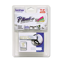 "Brother P-Touch® TZ Standard Adhesive Laminated Labeling Tape, 0.47"" x 16.4 ft, Gold/Silver"
