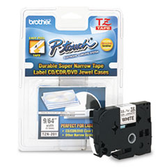"Brother P-Touch® TZ Super-Narrow Non-Laminated Tape for P-Touch Labeler, 0.13"" x 26.2 ft, Black on White"
