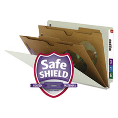 Smead® X-Heavy 2-Pocket End Tab Pressboard Classification Folders with SafeSHIELD Fasteners, 2 Dividers, Legal, Gray-Green, 10/BX